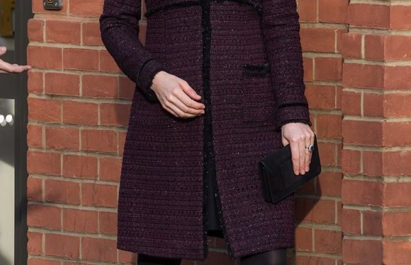 Duchess Kate is perfection in a plum Seraphine maternity coat